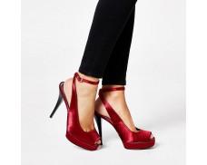 Red satin slingback flat sandals