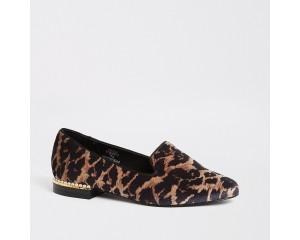 Brown Leopard Print Pearl Heeled Slippers
