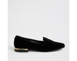 Black Velvet Pearl Embellished Slippers