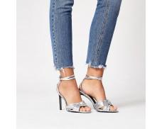Silver metallic knot front high heel sandals