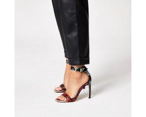 Black Printed Nude High Heeled Sandals