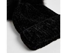 Black Imitation Fur Hat