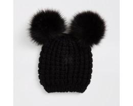 Black Imitation Fur Knit Cap
