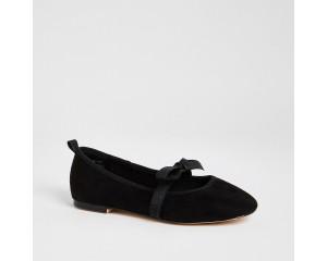 Black Suede Ribbon Strap Ballet Shoes