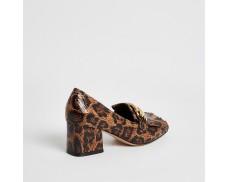 Brown leopard block heel loafers